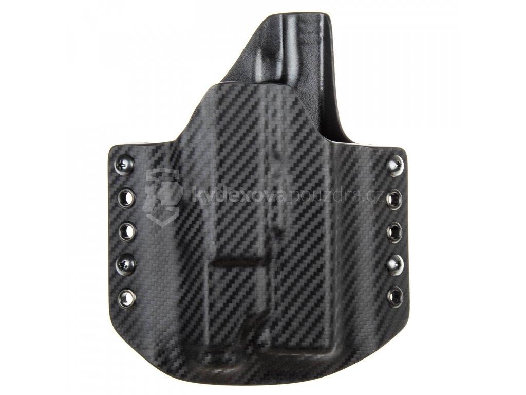 OWB - Glock 17/22/31 + Inforce APL - vnější kydexové pouzdro - poloviční sweatguard - carbon/carbon