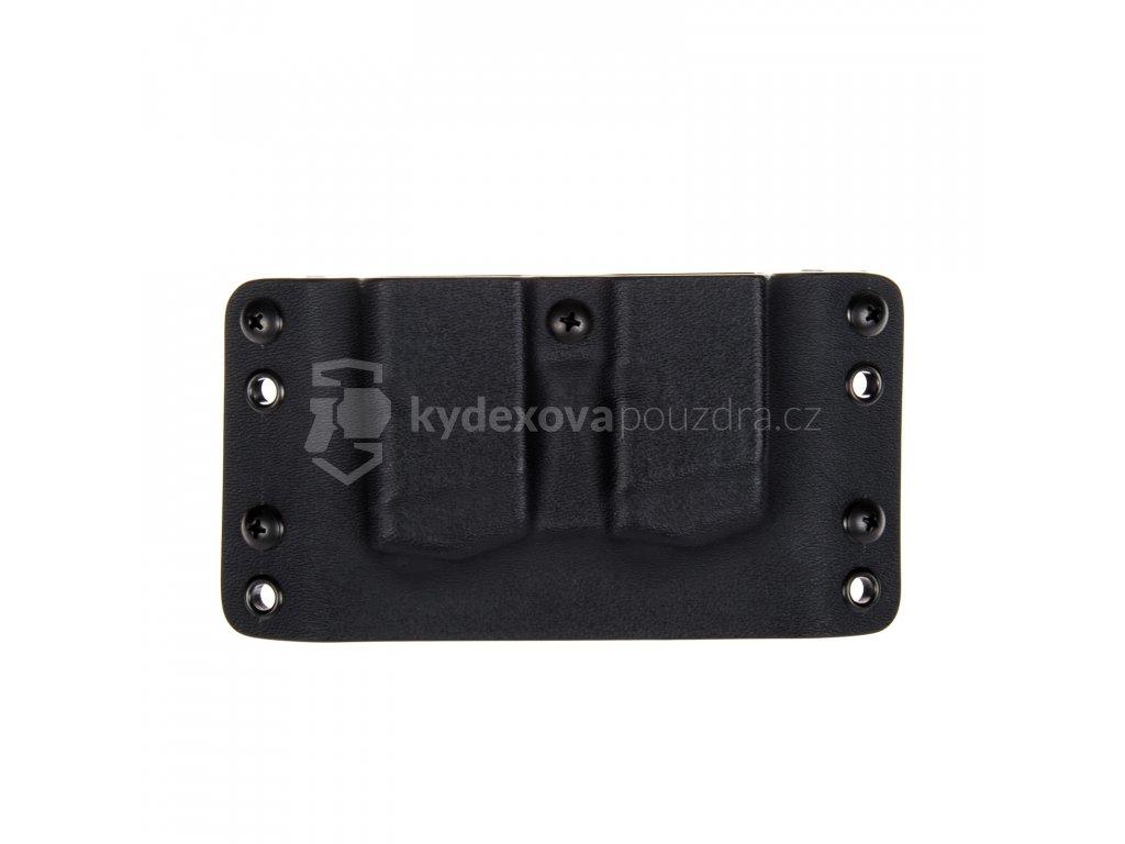 OWB - Glock 17/19/19X/45 - vnější kydexové pouzdro na 2 zásobníky - bez sweatguardu - černá/černá