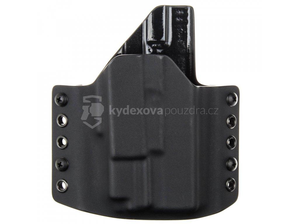OWB - Glock 19/23/32 + Olight PL-MINI Valkyrie - vnější kydexové pouzdro - poloviční sweatguard - černá/černá
