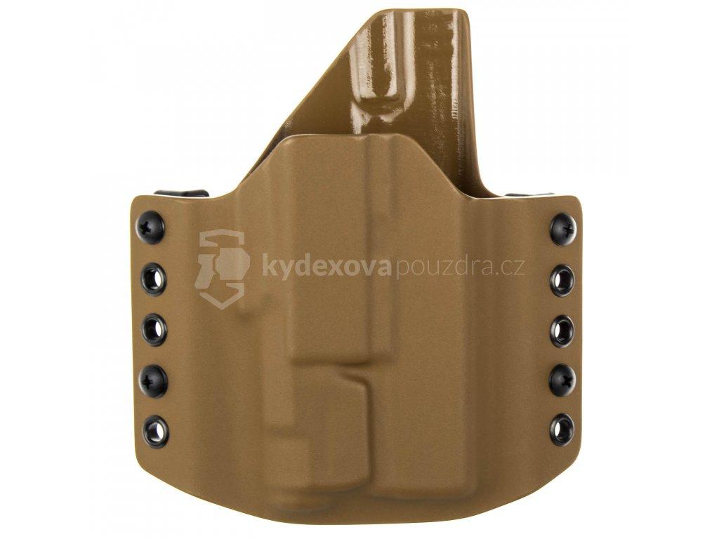 OWB - Glock 19/23/32 - Glock 19X/45 + Inforce APLc - vnější kydexové pouzdro - poloviční sweatguard - coyote hnědá/coyote hnědá