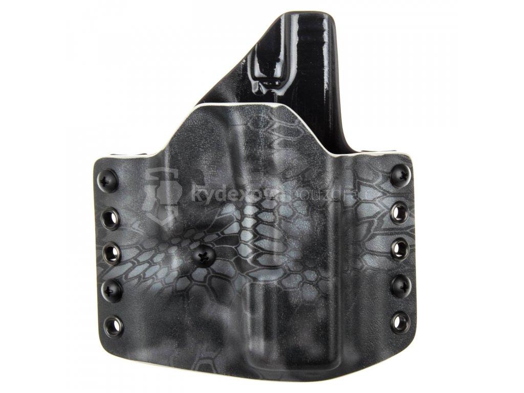 OWB - Glock 19/23/32 - Glock 19X/45 - vnější kydexové pouzdro - poloviční sweatguard - ns- kryptek typhon/černá