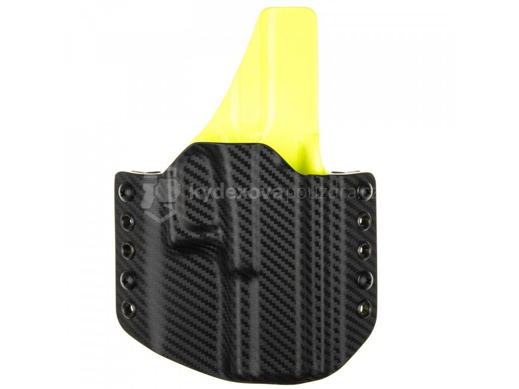 OWB - Glock 19/23/32 - Glock 19X/45 - vnější kydexové pouzdro - poloviční sweatguard - carbon/safety žlutá
