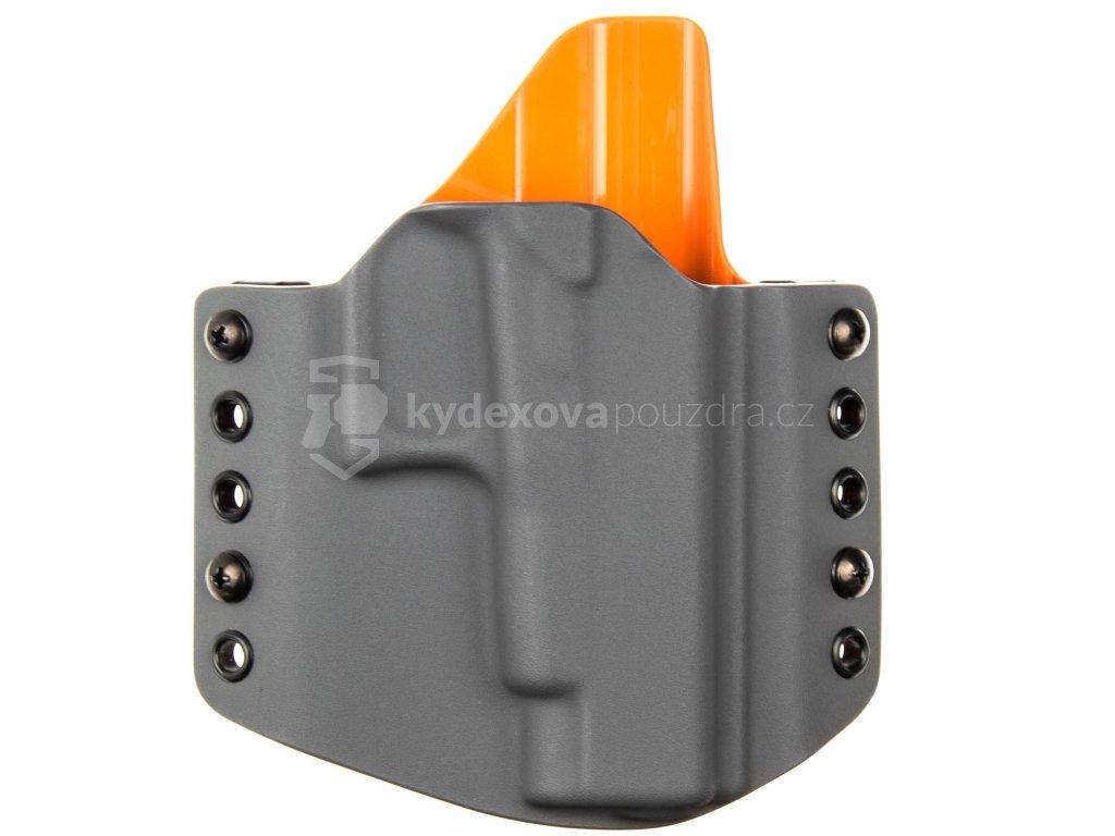 OWB - Glock 48 - vnější kydexové pouzdro - poloviční sweatguard - tmavě šedá/oranžová