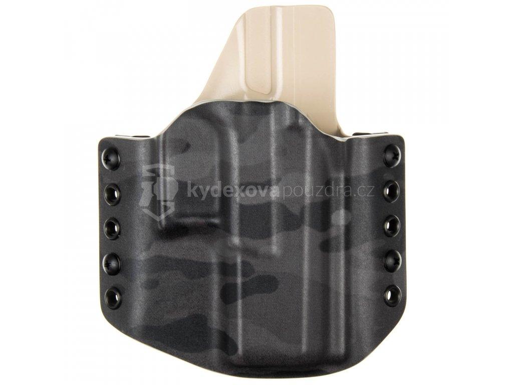 OWB - CZ P-10 C - vnější kydexové pouzdro - poloviční sweatguard - multicam black/písková