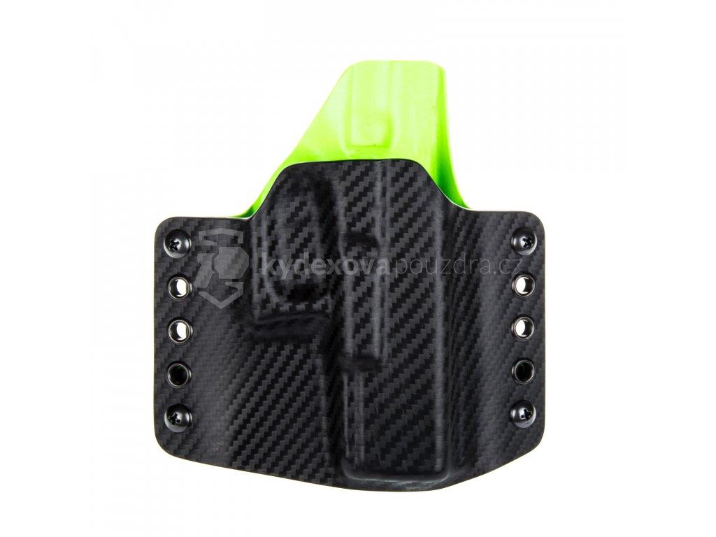 OWB - Glock 19/23/32 - Glock 19X/45 - vnější kydexové pouzdro - poloviční sweatguard - carbon/zombie zelená