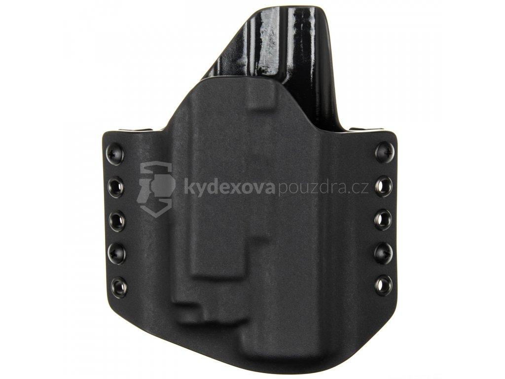 OWB - Glock 17/22/31 + Olight PL-MINI 2 Valkyrie - vnější kydexové pouzdro - poloviční sweatguard - černá/černá