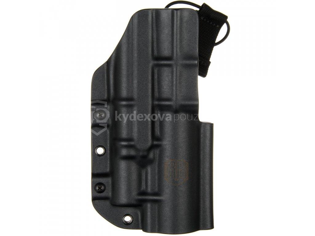 TAC - Glock 17/19 - Glock 19X/45 + TLUMIČ + Surefire X300U-A/B - taktické kydexové pouzdro - černá