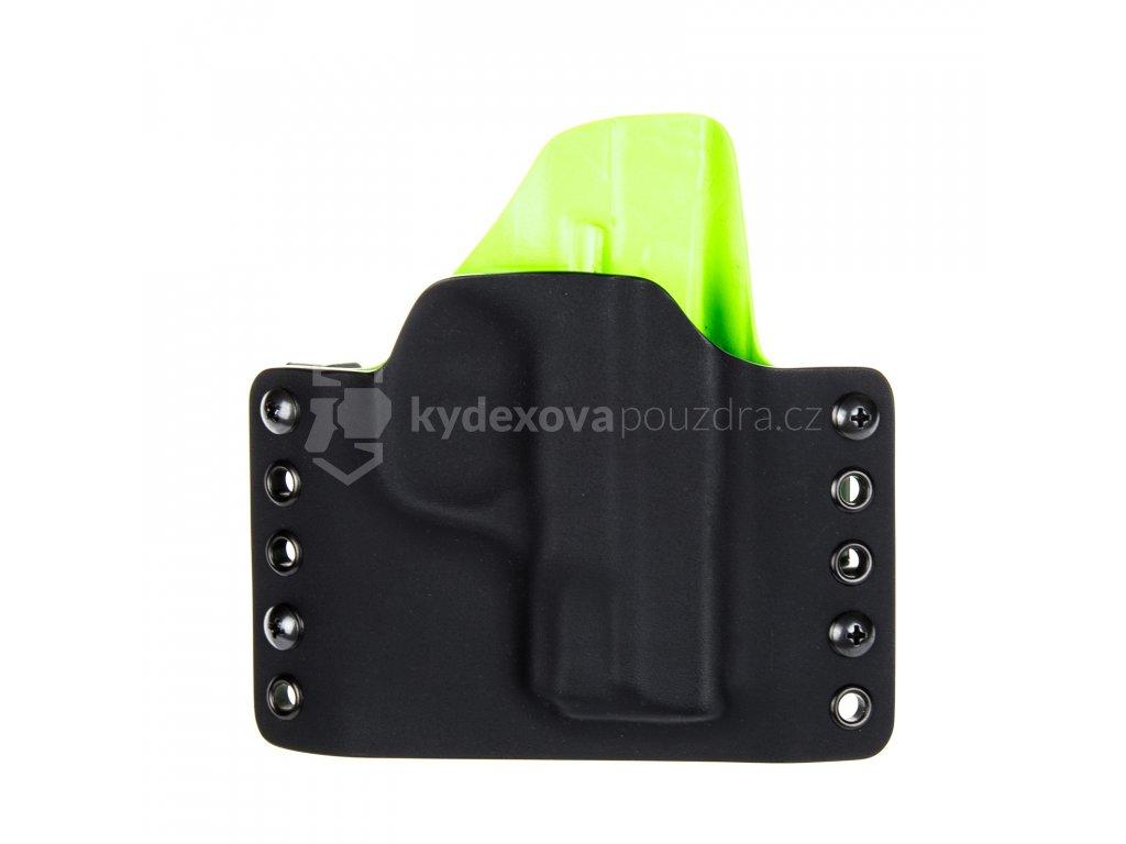 OWB - Smith & Wesson M&P9 SHIELD - vnější kydexové pouzdro - poloviční sweatguard - černá/zombie zelená