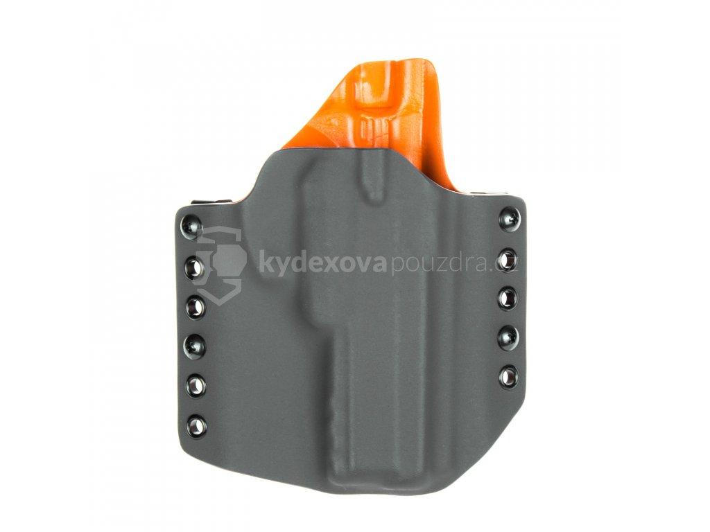 OWB - CZ 75 SP-01 Shadow - CZ 75 SP-01 Tactical - vnější kydexové pouzdro - poloviční sweatguard - tmavě šedá/oranžová