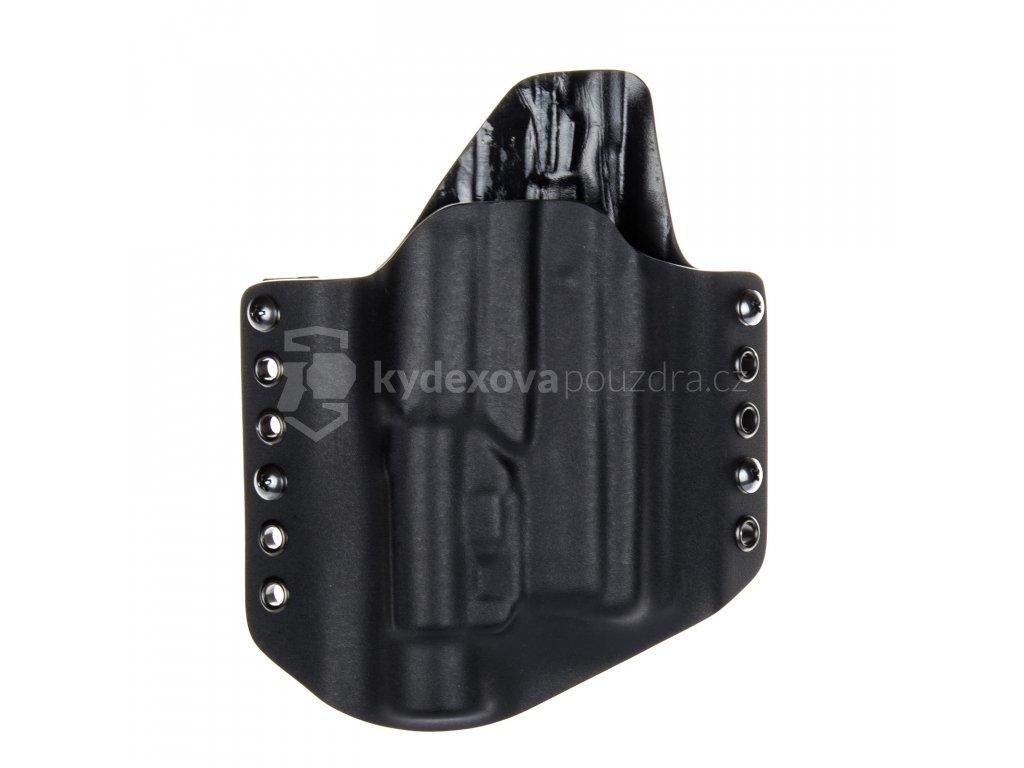 OWB - CZ 75 P-01 Ω - CZ 75 D Compact - CZ 75 Compact Shadow Line + Streamlight TLR-1 - vnější kydexové pouzdro - poloviční sweatguard - černá/černá