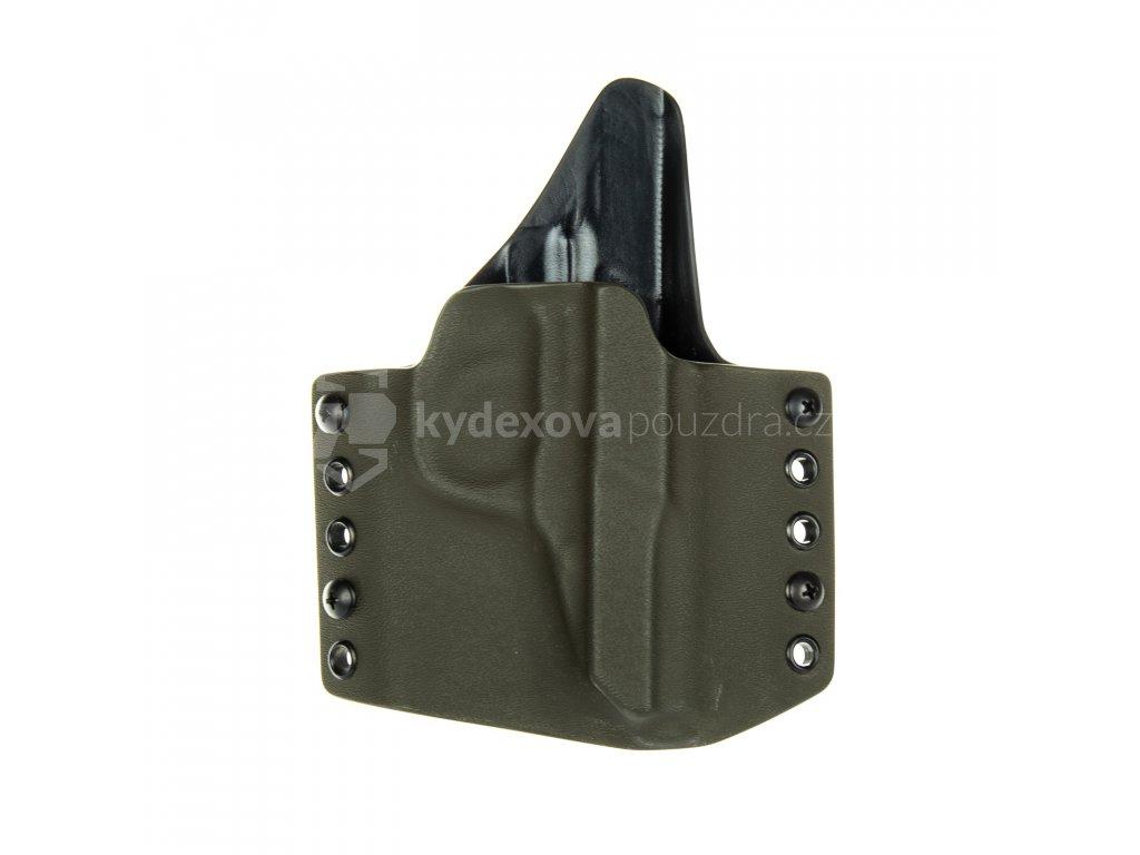 OWB - Walther P5 - vnější kydexové pouzdro - poloviční sweatguard - olivová/černá