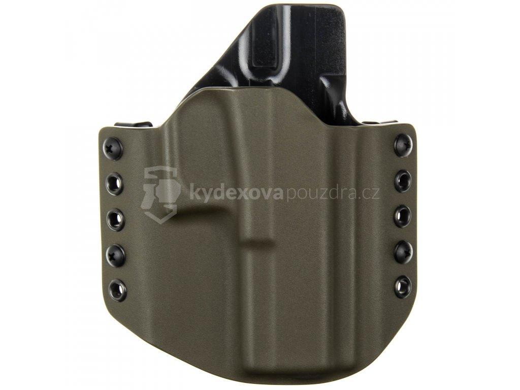 OWB - Glock 17/22/31 - vnější kydexové pouzdro - poloviční sweatguard - olivová/černá