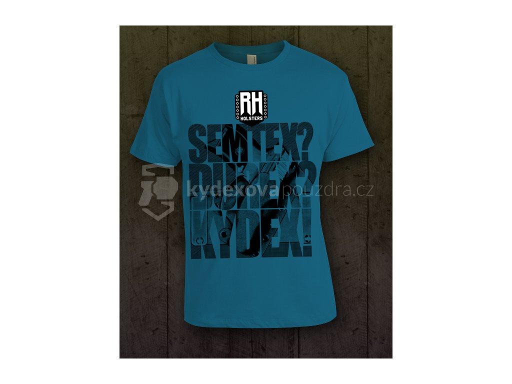 Pánské tričko s potiskem RH Holsters, modré