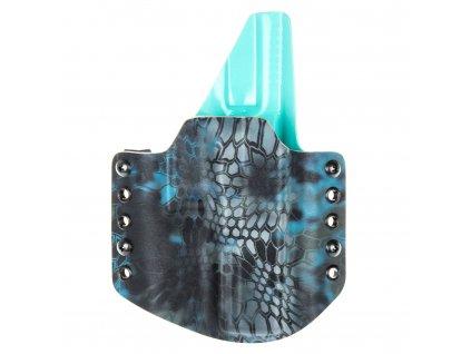 Kydexové pouzdro na zbraň Glock 17/22/31 se sweatguardem - vnější, kryptek neptune/tiffany blue