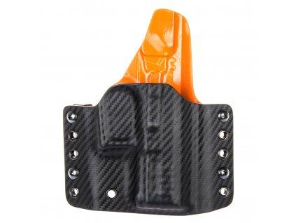 OWB - vnější kydexové pouzdro na Grand Power P11 - plný sweatguard - carbon/oranžová