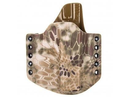 OWB - vnější kydexové pouzdro na Glock 17/22/31 - poloviční sweatguard - kryptek highlander/coyote hnědá