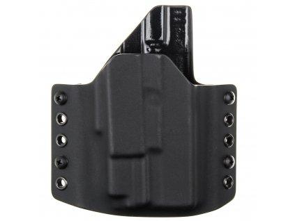 OWB - Glock 19/23/32 - Glock 19X/45 + Olight PL-MINI Valkyrie - vnější kydexové pouzdro - poloviční sweatguard - černá/černá