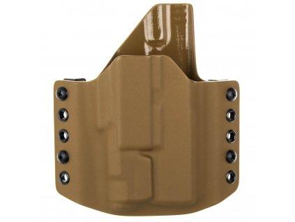 OWB - vnější kydexové pouzdro na Glock 19/23/32 + Inforce APLc - poloviční sweatguard - coyote hnědá/coyote hnědá