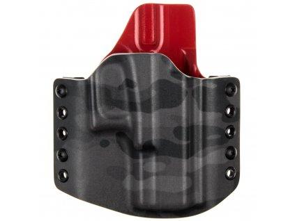 OWB - Glock 19/23/32 - Glock 19X/45 - vnější kydexové pouzdro - poloviční sweatguard - multicam black/červená