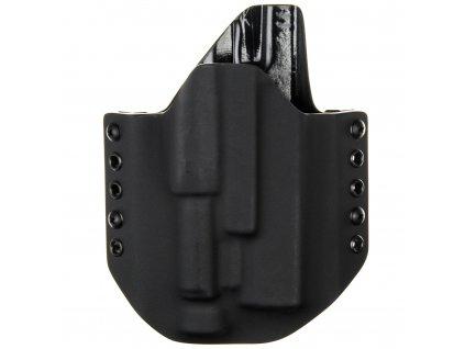 OWB - Glock 17/22/31 + Olight PL-2/PL-PRO Valkyrie - vnější kydexové pouzdro - poloviční sweatguard - černá/černá