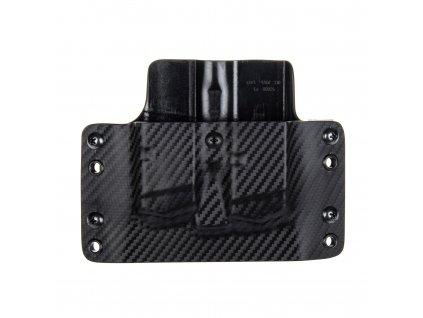 OWB - Glock 17/19/19X/45 - vnější kydexové pouzdro na 2 zásobníky - plný sweatguard - carbon/černá