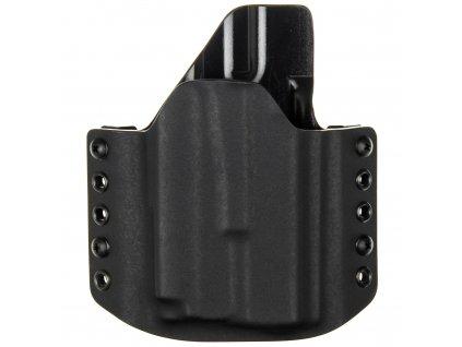 OWB - Glock 19/23/32 + Olight PL-MINI 2 Valkyrie - vnější kydexové pouzdro - poloviční sweatguard - černá/černá
