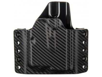 OWB - Glock 43/43X + Streamlight TLR-6 - vnější kydexové pouzdro - poloviční sweatguard - carbon/černá