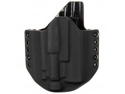 OWB - Glock 17/22/31 + Olight Baldr Pro/RL Valkyrie - vnější kydexové pouzdro - poloviční sweatguard - černá/černá