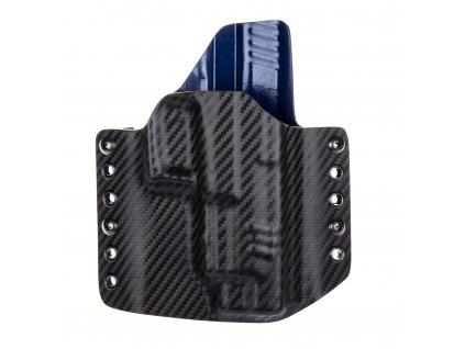 """OWB - Springfield XDM 4.5"""" - vnější kydexové pouzdro - poloviční sweatguard - carbon/police modrá"""