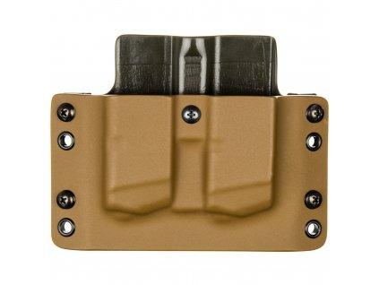 OWB - Glock 17/19/19X/45 - vnější kydexové pouzdro na 2 zásobníky - plný sweatguard - coyote hnědá/olivová