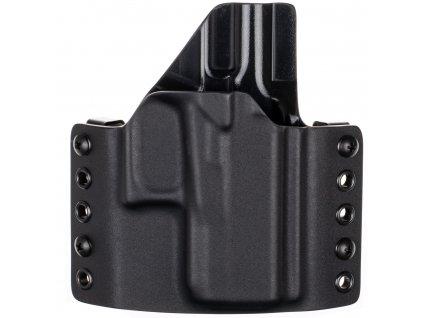 OWB - Glock 43X Rail MOS - vnější kydexové pouzdro - poloviční sweatguard - černá/černá
