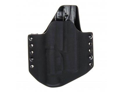 OWB - Glock 19/23/32 + Streamlight TLR-1- vnější kydexové pouzdro - poloviční sweatguard - černá/černá