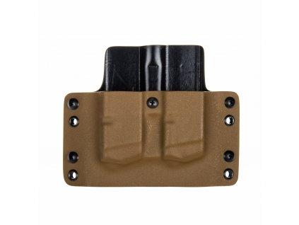 OWB - Glock 17/19/19X/45 - vnější kydexové pouzdro na 2 zásobníky - plný sweatguard - coyote hnědá/černá