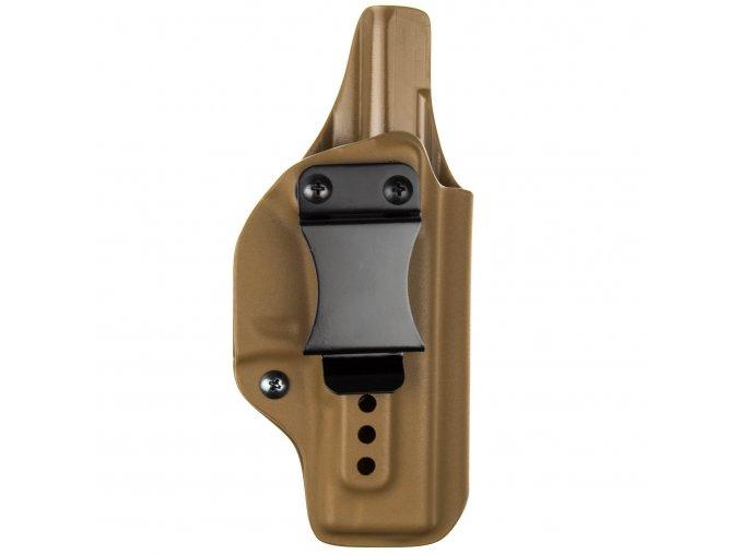 Kydexové pouzdro na zbraň Glock 19/23/32 se sweatguardem a nastavením svoru - vnitřní, coyote hnědá