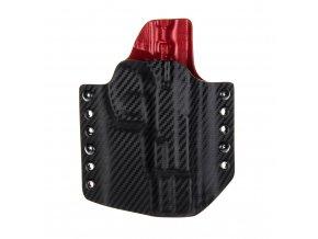 Kydexové pouzdro na zbraň CZ 75 B - vnější, carbon/červená