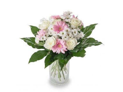 Puget bílých růží a mini gerber