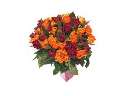51 růží (rudá+oranžová)