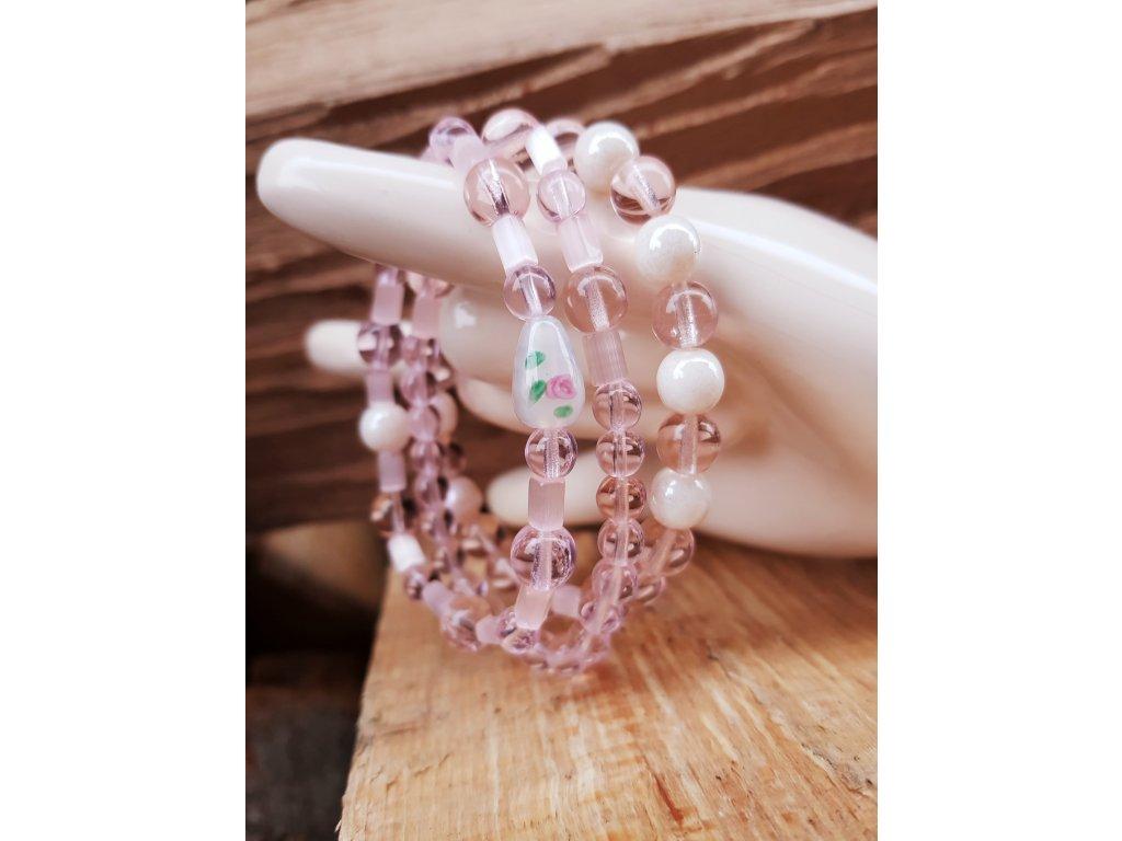 Rózinka Set náramků a náhrdelníku (sklo, ocel)1