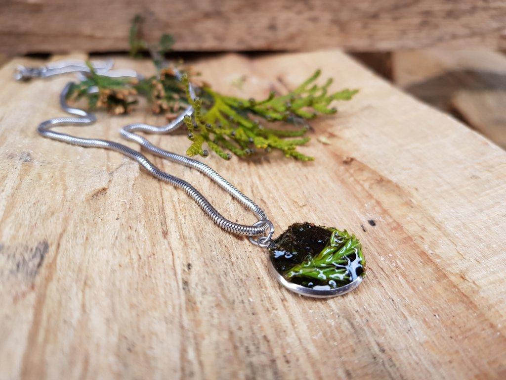 V mechu Náhrdelník (ocel, mech, thuje)1