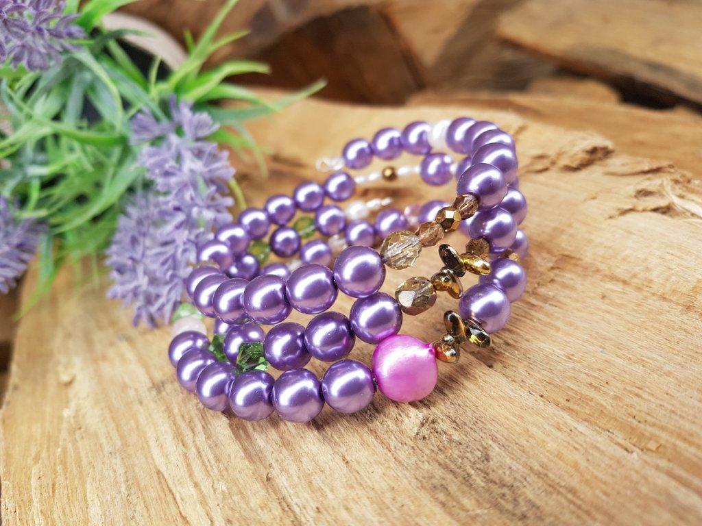 Levander Náramek (perly, minerály, sklo)1