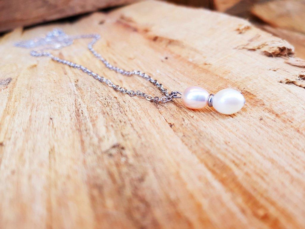 Pira Náhrdelník (ocel, perly)1