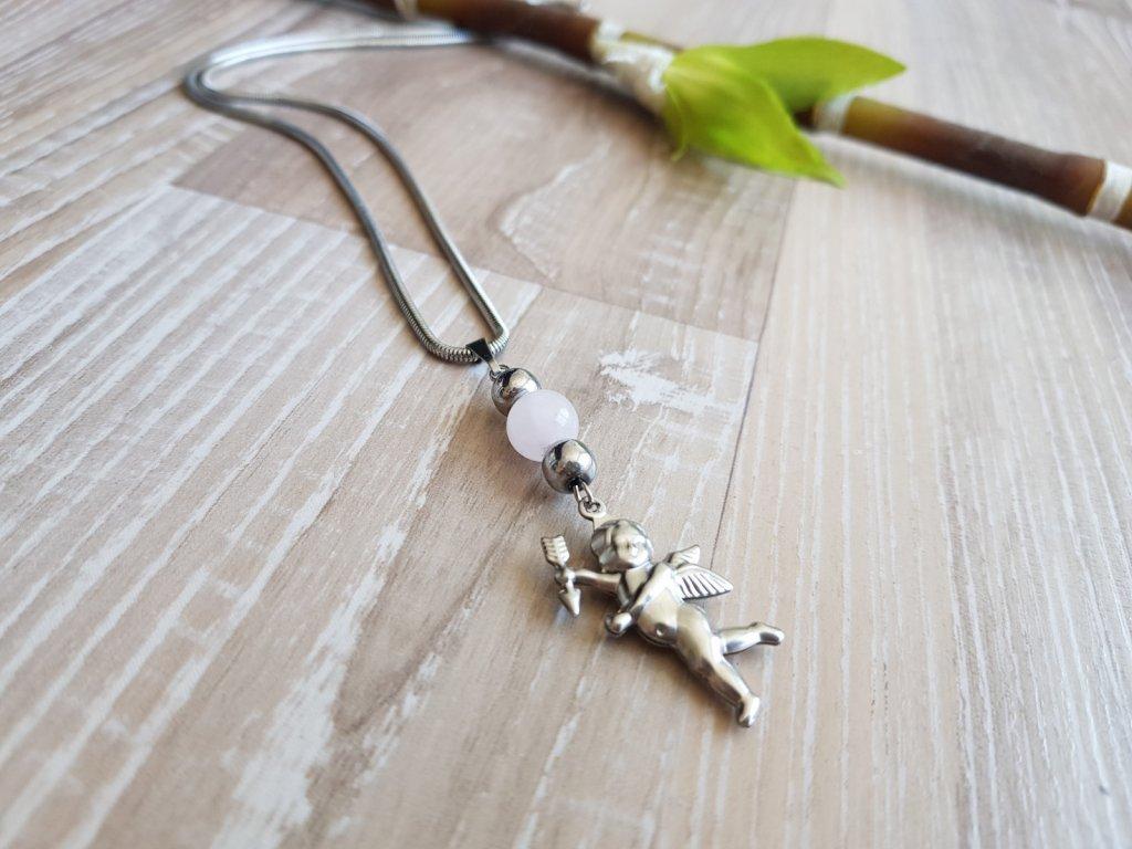 Amor Náhrdelník (ocel, růženín)1