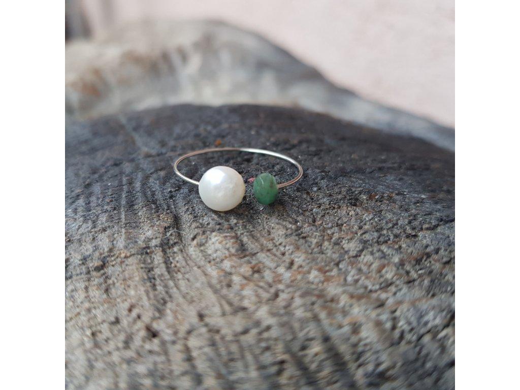 Medi 2 Prstýnek (avanturín, perla)1