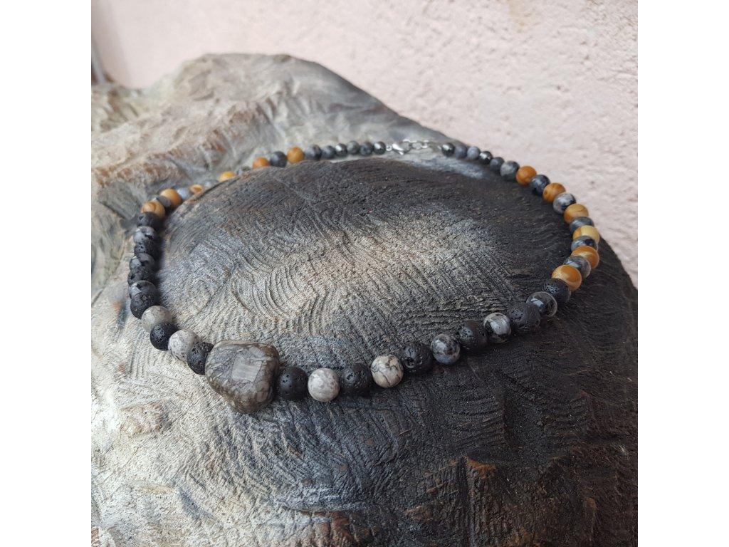 Chris Pánský náhrdelník (minerály, lávový kámen)1