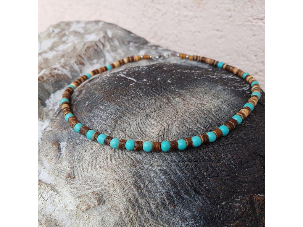 Menko 11 Pánský náhrdelník (kokos, tyrkenit)1