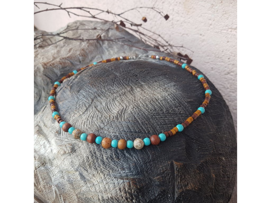 Menko 12 Pánský náhrdelník (dřevo, tyrkenit)1