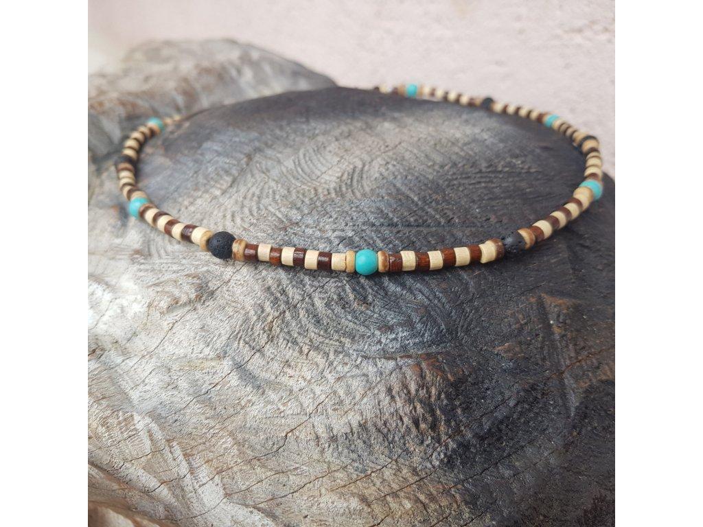 Menko 20 Pánský náhrdelník (tyrkys, láva, dřevo)1