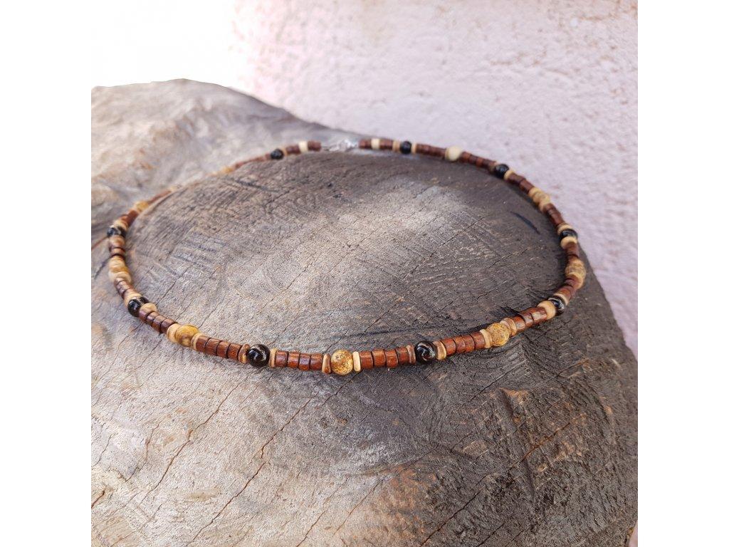 Freddy 2 Pánský náhrdelník (dřevo, minerály)1