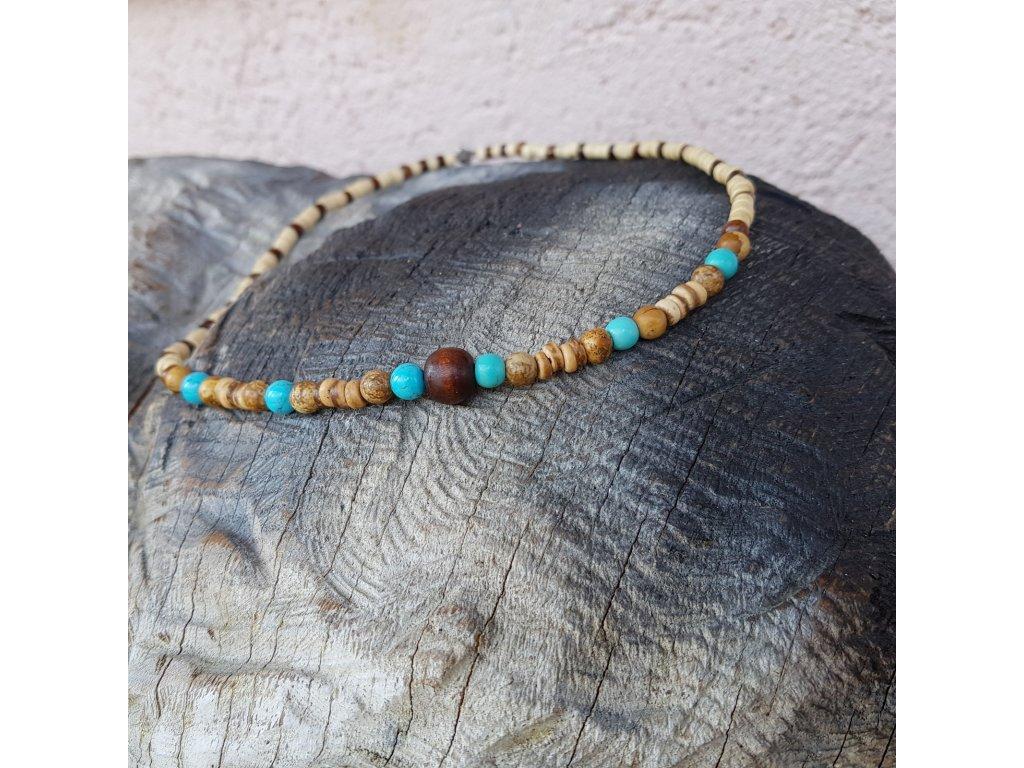 Menko 24 Pánský náhrdelník (dřevo, minerály)1