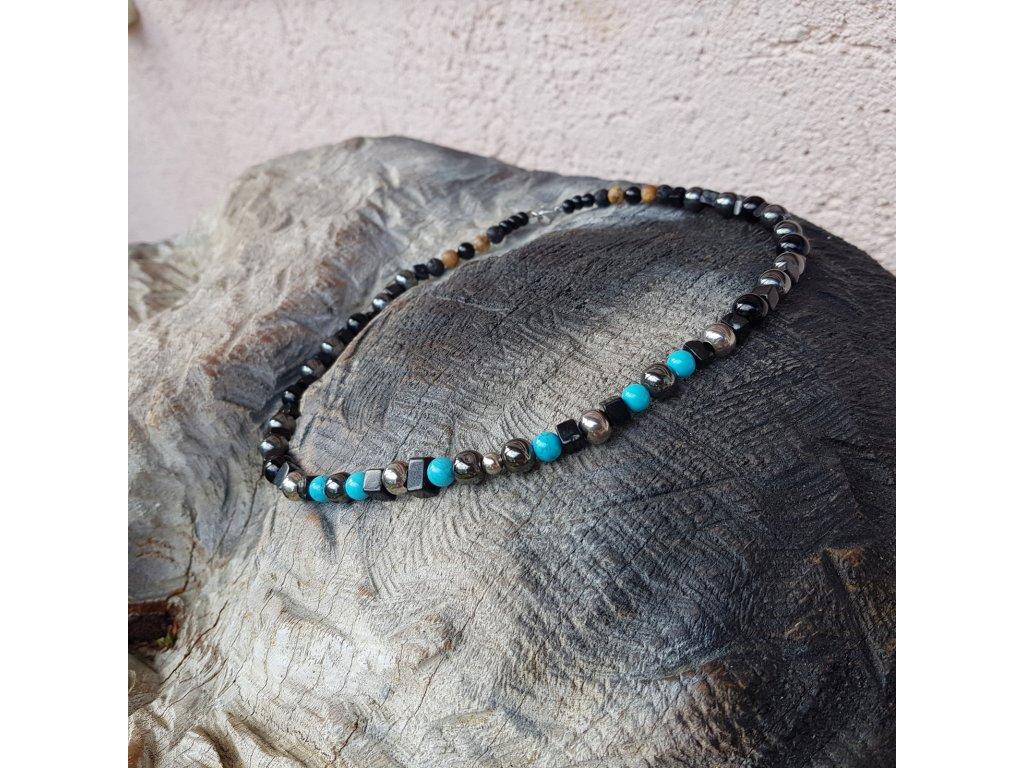 Rick 2 Pánský náhrdelník (onyx, hematit, tyrkys)1